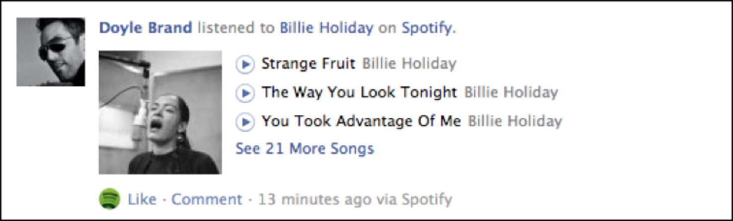Figure 4: Facebook displays what songs the user has listened to recently on the newsfeed